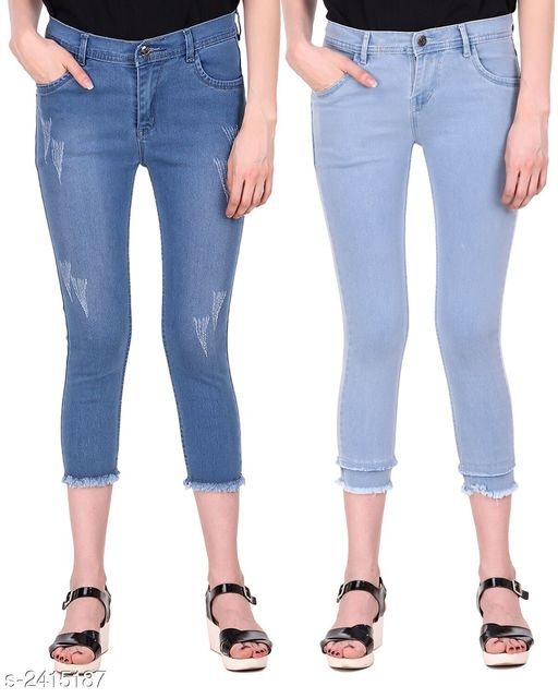 Jeans Ravishing Denim Women's Jeans Combo  *Fabric* Jean 1 - Denim, Jean 2 - Denim  *Size* 28 in, 30 in, 32 in, 34 in  *Length* Jean 1 - Up To 36 in, Jean 2 - Up To 36 in        *Type* Stitched  *Description* It Has 2 Pieces Of Women's Jeans  *Pattern* Jean 1 - Rugged, Jean 2 - Solid  *Sizes Available* 28, 30, 32, 34 *    Catalog Name: Modern Ravishing Denim Women's Jeans Combo Vol 14 CatalogID_323465 C79-SC1032 Code: 798-2415187-