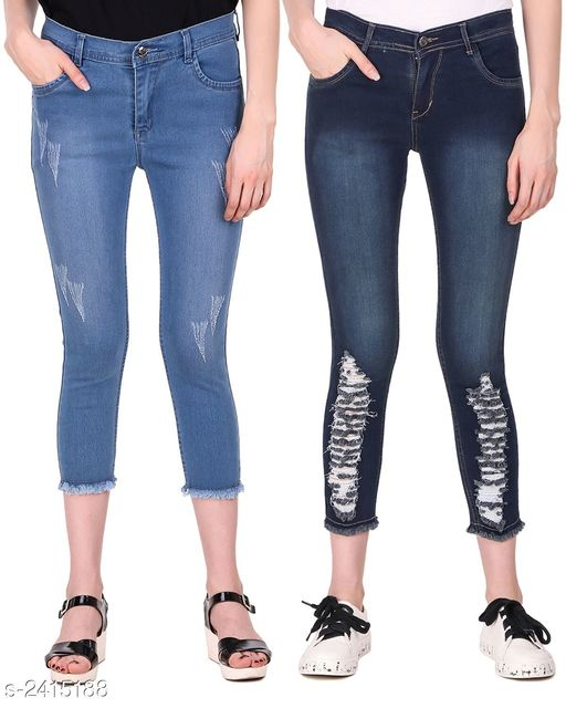 Jeans Ravishing Denim Women's Jeans Combo  *Fabric* Jean 1 - Denim, Jean 2 - Denim  *Size* 28 in, 30 in, 32 in, 34 in  *Length* Jean 1 - Up To 36 in, Jean 2 - Up To 38 in        *Type* Stitched  *Description* It Has 2 Pieces Of Women's Jeans  *Pattern* Jean 1 - Rugged, Jean 2 - Rugged  *Sizes Available* 28, 30, 32, 34 *   Catalog Rating: ★4.6 (5)  Catalog Name: Modern Ravishing Denim Women's Jeans Combo Vol 14 CatalogID_323465 C79-SC1032 Code: 528-2415188-