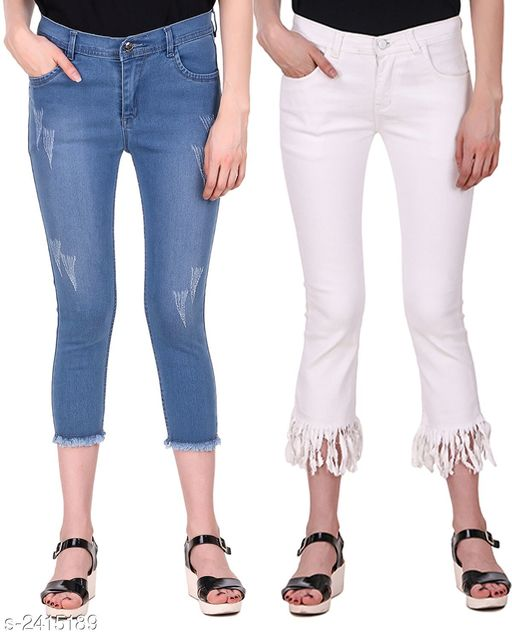 Jeans Ravishing Denim Women's Jeans Combo  *Fabric* Jean 1 - Denim, Jean 2 - Denim  *Size* 28 in, 30 in, 32 in, 34 in  *Length* Jean 1 - Up To 36 in, Jean 2 - Up To 36 in        *Type* Stitched  *Description* It Has 2 Pieces Of Women's Jeans  *Pattern* Jean 1 - Rugged, Jean 2 - Solid  *Sizes Available* 28, 30, 32, 34 *    Catalog Name: Modern Ravishing Denim Women's Jeans Combo Vol 14 CatalogID_323465 Code: 798-2415189-
