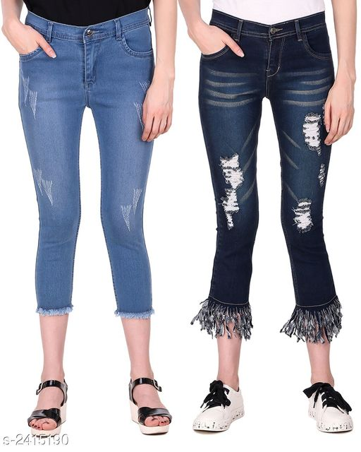 Jeans Ravishing Denim Women's Jeans Combo  *Fabric* Jean 1 - Denim, Jean 2 - Denim  *Size* 28 in, 30 in, 32 in, 34 in  *Length* Jean 1 - Up To 36 in, Jean 2 - Up To36 in        *Type* Stitched  *Description* It Has 2 Pieces Of Women's Jeans  *Pattern* Jean 1 - Rugged, Jean 2 - Rugged  *Sizes Available* 28, 30, 32, 34 *   Catalog Rating: ★4.6 (5)  Catalog Name: Modern Ravishing Denim Women's Jeans Combo Vol 14 CatalogID_323465 C79-SC1032 Code: 528-2415190-