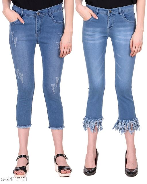 Jeans Ravishing Denim Women's Jeans Combo  *Fabric* Jean 1 - Denim, Jean 2 - Denim  *Size* 28 in, 30 in, 32 in, 34 in  *Length* Jean 1 - Up To 36 in, Jean 2 - Up To 36 in        *Type* Stitched  *Description* It Has 2 Pieces Of Women's Jeans  *Pattern* Jean 1 - Rugged, Jean 2 - Solid  *Sizes Available* 28, 30, 32, 34 *   Catalog Rating: ★4.6 (5)  Catalog Name: Modern Ravishing Denim Women's Jeans Combo Vol 14 CatalogID_323465 C79-SC1032 Code: 528-2415191-