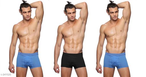 Briefs Comfy Cotton Men's Inner Wear Pack Of 3  *Fabric* Cotton   *Size* S - Up To 75 cm To 80 cm,      M - Up To 80 cm To 85 cm,  L - Up To 85 cm To 90 cm,  XL - Up To 90 cm To 95 cm,  XXl - Up To 95 cm To 100 cm   *Length* Up To 8 in To 10 in   *Type* Stitched   *Description* It Has 3 Piece Of Men's Inner Wear   *Pattern* Solid  *Sizes Available* S, M, L, XL, XXL *   Catalog Rating: ★4 (70)  Catalog Name: Men's Cotton Trunks Combo Vol 2 CatalogID_24914 C68-SC1215 Code: 862-241628-
