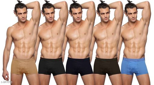 Briefs Comfy Cotton Men's Inner Wear Pack Of 5  *Fabric* Cotton   *Size* S - Up To 75 cm To 80 cm,      M - Up To 80 cm To 85 cm,  L - Up To 85 cm To 90 cm,  XL - Up To 90 cm To 95 cm,  XXl - Up To 95 cm To 100 cm   *Length* Up To 8 in To 10 in   *Type* Stitched   *Description* It Has 5 Piece Of Men's Inner Wear   *Pattern* Solid  *Sizes Available* S, M, L, XL, XXL *   Catalog Rating: ★4 (77)  Catalog Name: Men's Cotton Trunks Combo Vol 2 CatalogID_24914 C68-SC1215 Code: 204-241630-