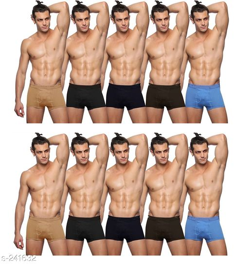Briefs Comfy Cotton Men's Inner Wear Pack Of 10  *Fabric* Cotton   *Size* S - Up To 75 cm To 80 cm,      M - Up To 80 cm To 85 cm,  L - Up To 85 cm To 90 cm,  XL - Up To 90 cm To 95 cm,  XXl - Up To 95 cm To 100 cm   *Length* Up To 8 in To 10 in   *Type* Stitched   *Description* It Has 10 Piece Of Men's Inner Wear   *Pattern* Solid  *Sizes Available* S, M, L, XL, XXL *   Catalog Rating: ★4 (77)  Catalog Name: Men's Cotton Trunks Combo Vol 2 CatalogID_24914 C68-SC1215 Code: 876-241632-