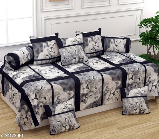 Apala® Beautiful 240 TC 100 % Microfiber Elegant Lion Design Diwan Set with 8 Pieces, One Single Bed Sheet with 5 Cushions Covers and 2 Bolster Covers (Black)