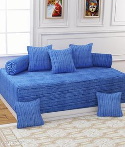 Apala® Beautiful 240 TC 100 % Microfiber Elegant Lining Design Diwan Set with 8 Pieces, One Single Bed Sheet with 5 Cushions Covers and 2 Bolster Covers (Blue)