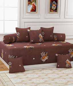 Apala® Floral 240 TC 100 % Microfiber Elegant Design Diwan Set with 8 Pieces, 1 Single Bed Sheet with 5 Cushions Covers and 2 Bolster Covers (Brown)