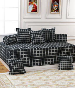 Apala® Beautiful 240 TC 100 % Microfiber Elegant Design Checkered Pattern Diwan Set with 8 Pieces, 1 Single Bed Sheet with 5 Cushions Covers and 2 Bolster Covers (Grey)