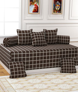 Apala® Beautiful 240 TC 100 % Microfiber Elegant Design Checkered Pattern Diwan Set with 8 Pieces, 1 Single Bed Sheet with 5 Cushions Covers and 2 Bolster Covers (Brown)