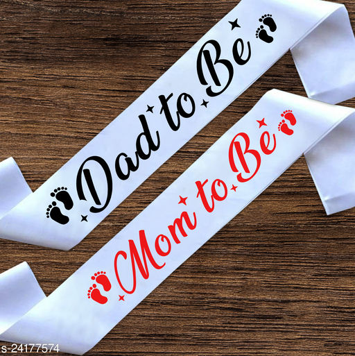 """Style Secrets Premium Shimmering 3"""" White Satin Mom to Be and Dad to Be Sash for Baby Shower/Party Wear-up ( Pack of 2 )"""