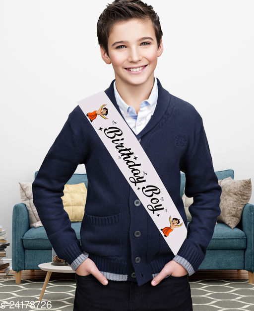 """Style Secrets Premium Shimmering 3"""" White Satin Boys Birthday Sash with Durable Print ( Suitable for all Age Group )"""