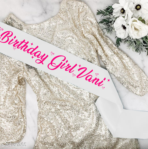 """Style Secrets Premium Shimmering 3"""" Customize Your Own Sash with Your Name/Quote and Make Your Birthday More Special by Wearing Your Own Name Printed Sash"""