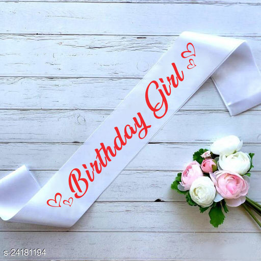 """Style Secrets Premium Shimmering 3"""" White Birthday Girl Sash for all Princesses, Baby Girls, Girls and Ladies with Durable Print Quality"""