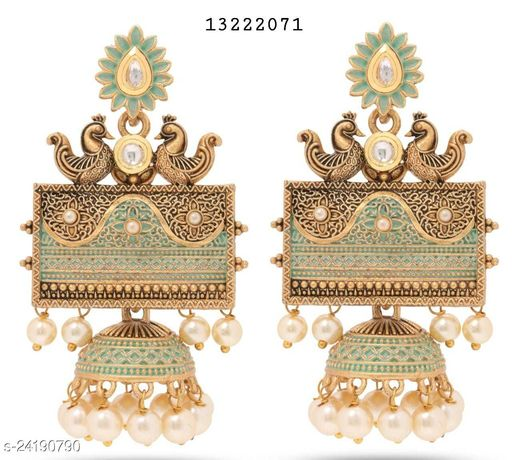 Mumbai's top-selling range of Turquoise Jhumkas. Anti-allergy, authentic, traditional & classy. Best for festive gifting