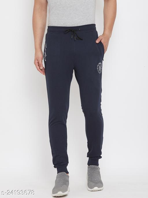 FAT BOB Men's Navy Solid   Regular Fit Track Pant