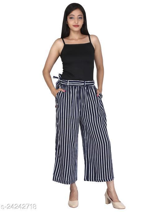 Women Designer Stripe Print Capri-Free