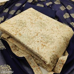Exclusive Khadi Cotton Foil Print Dress Material Suit With Bottom and Dupatta