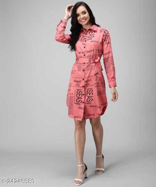 Syolo Women Newspaper Print Shirt Dress