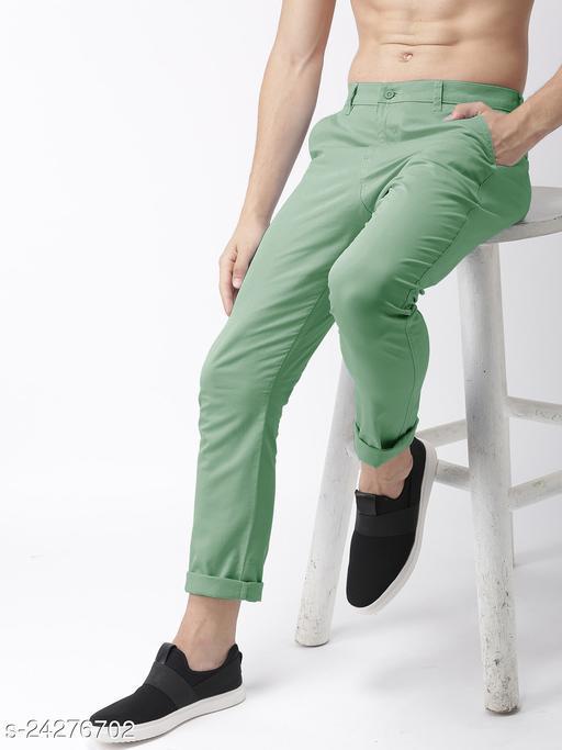 FREAKS light mehndi casual pant for men
