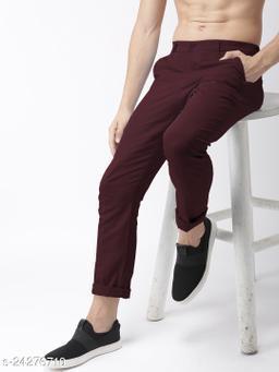 FREAKS maroon casual pant for men