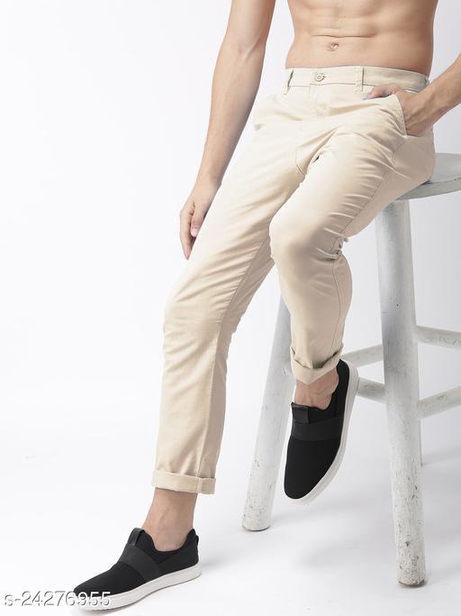 FREAKS cream casual pant for men