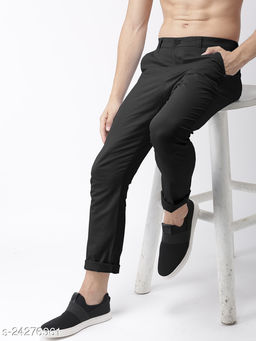 FREAKS blackcasual pant for men
