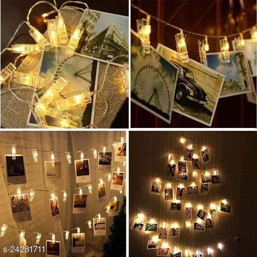 BLACK HORSE 10Photo Clip Fairy Lights for Outdoor,Indoor, Anniversary, Birthday Party,Diwali, Christmas Decoration,Valentine Gifts Girlfriend Or Boyfriend, Bedroom, Home Photos Light Décor