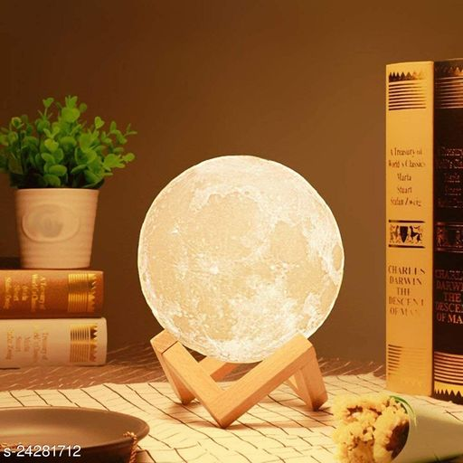 BLACK HORSE 3D USB Rechargeable Moon Lamp 7 Color Changing Sensor Touch Crystal Ball Night Lamp with Wooden Stand, Bedroom Lamp, Night Lamp for Bedroom, Bedroom Lamp for Kids (15 CM)