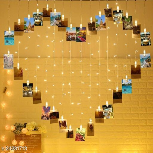 BLACK HORSE 124 Lights Heart Shape Photo Clip String Lights,32 Clip Lights and 92 LED Lights, Sweet Ambience Decoration for Bedroom Livingroom Birthday/Wedding Photoes Show,Hanging Size 6.56x5.25 ft, Warm White