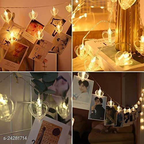 BLACK HORSE 10 HEART SHAPEPhoto Clip Fairy Lights for Outdoor,Indoor, Anniversary, Birthday Party,Diwali, Christmas Decoration,Valentine Gifts Girlfriend Or Boyfriend, Bedroom, Home Photos Light Décor