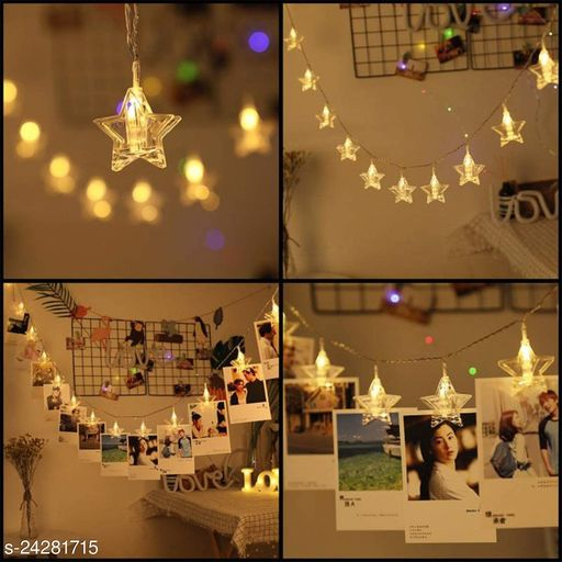 BLACK HORSE 10 STAR SHAPEPhoto Clip Fairy Lights for Outdoor,Indoor, Anniversary, Birthday Party,Diwali, Christmas Decoration,Valentine Gifts Girlfriend Or Boyfriend, Bedroom, Home Photos Light Décor