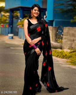 Beautiful Rose Design Embroidered Work Geaorgette Saree With Benglori Silk Blouse