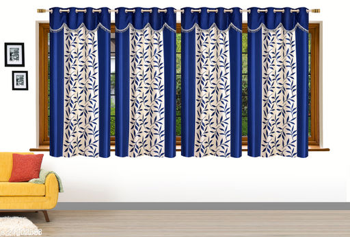 Heavy Quality Blue Royal 4U Frill Designer Window 5 Feet Curtain Pack of 4