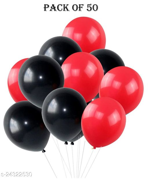 HD Metallic Balloons for Birthday / Anniversary Party Decoration Black /Red (Pack of 50)