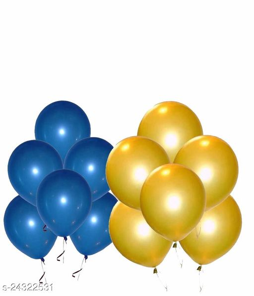 HD Metallic Balloons for Birthday / Anniversary Party Decoration Blue /Gold(Pack of 50)