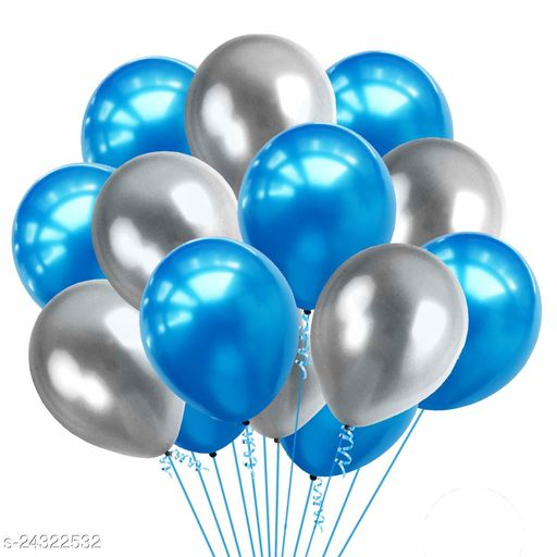 HD Metallic Balloons for Birthday / Anniversary Party Decoration Blue /Silver(Pack of 50)