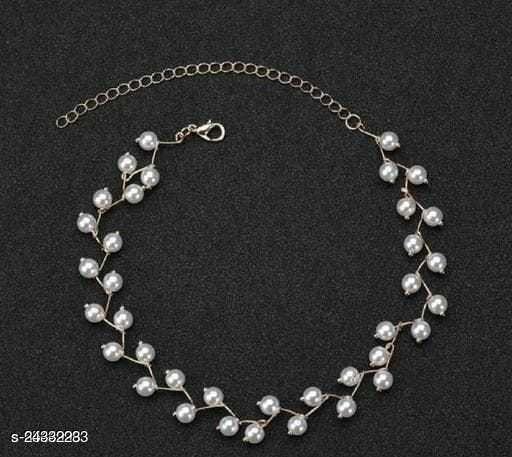 Elegant Pearl Choker Necklace Gold Finish