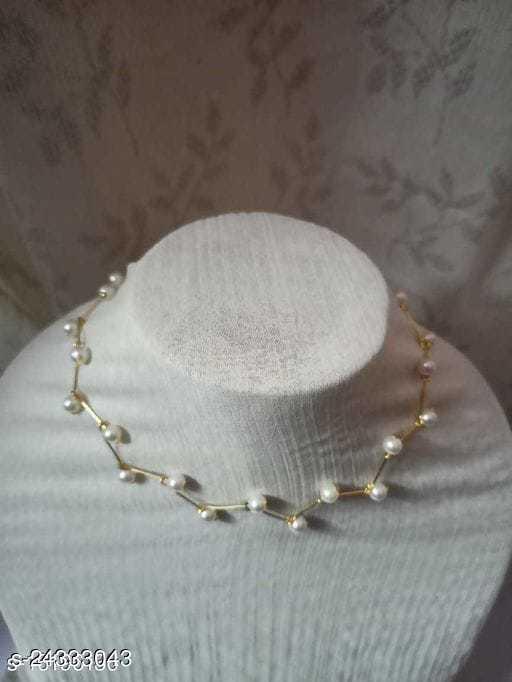 White Color Vine Pattern Necklace