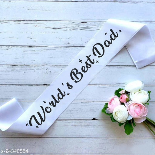 """Style Secrets 3"""" White Glossy Satin World's Best Dad Sash for all Dads. Surprise Dad with this Cute Sash and Show him that How Much You Love Him."""