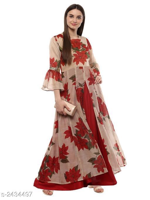 Women's Chanderi Silk Cream Layered Floral Printed Kurti
