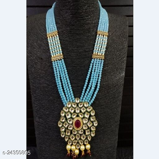 Crystal Glass Beaded Kundan Designer Necklace With Earrings