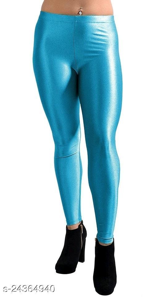 SKY BLUE SATIN LEGGINGS FOR WOMEN