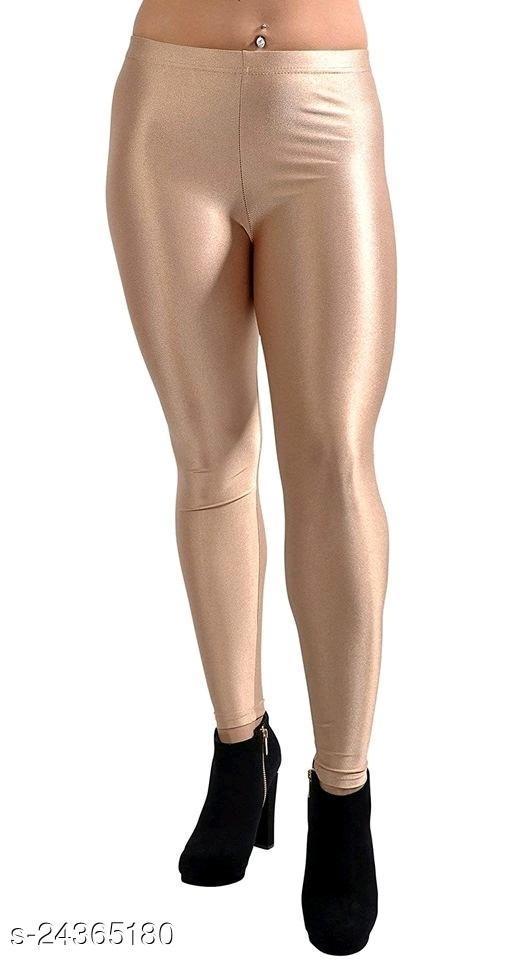 BEIGE SATIN LEGGINGS FOR WOMEN