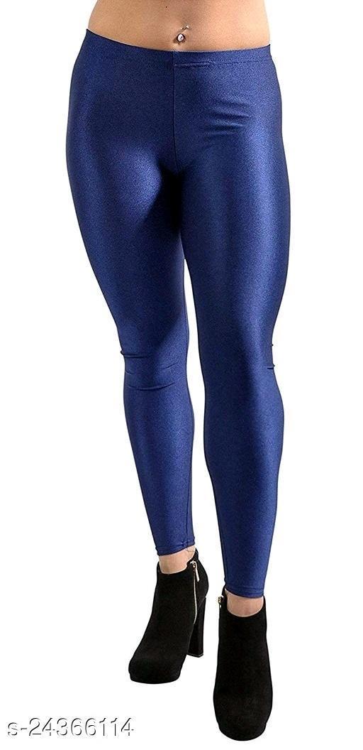 NAVY BLUE SATIN LEGGINGS FOR WOMEN