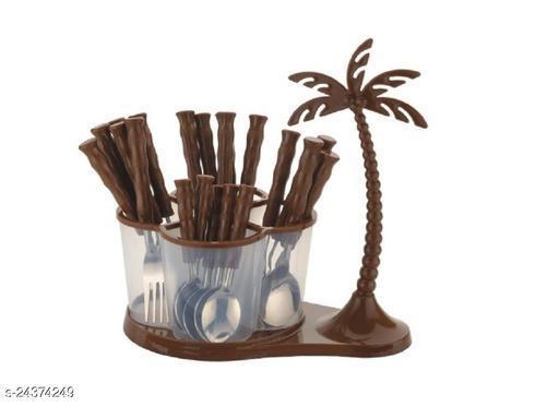 Classy Coconut Cutlery Serving Set, Spoon Set, Knives Set, Cutlery Set with Stand, Cutlery Set for Dinning
