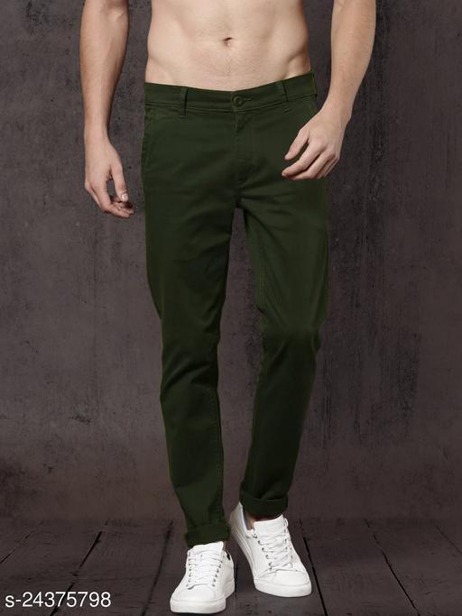 FASHLOOK mehndi casual pant for men