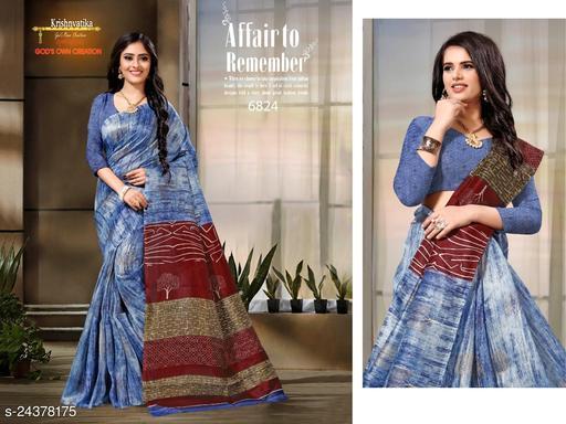 Summer Cotton Linen Printed  Saree