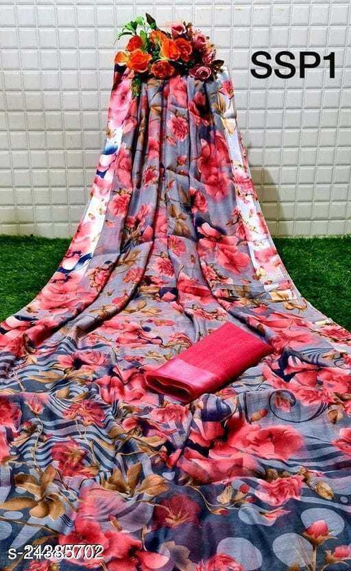 Pure Linen Printed Saree