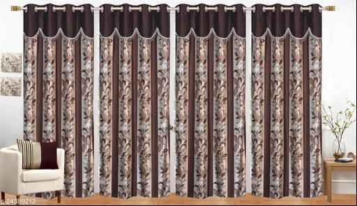 Heavy Quality Brown Royal 4U Frill Designer Door 7 Feet Curtain Pack of 4