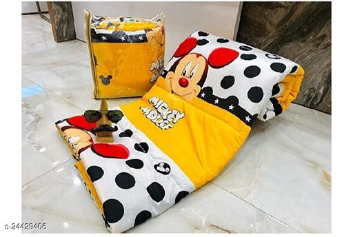 AANANYA HOME PRODUCT Beautiful Design Cartoon Print Reversible AC Blanket Comforter/Dohar/Quilt for Kids DESIGN -MICKEY MOUSE